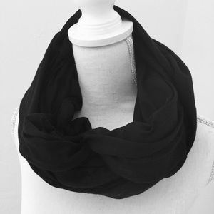 BLACK INFINITY SCARF Cotton Stretch 48 x 25.5